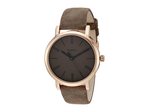 Timex Originals Tonal Leather Strap Watch - Brown/Rose Gold-Tone