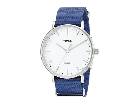 Timex Fairfield Nylon Slip-Thru Strap - Blue/Silver-Tone/White