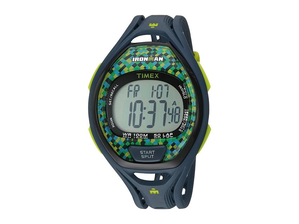 Timex - Ironman(r) Sleek 50 Full-Size Resin Strap (Blue/Green) Watches