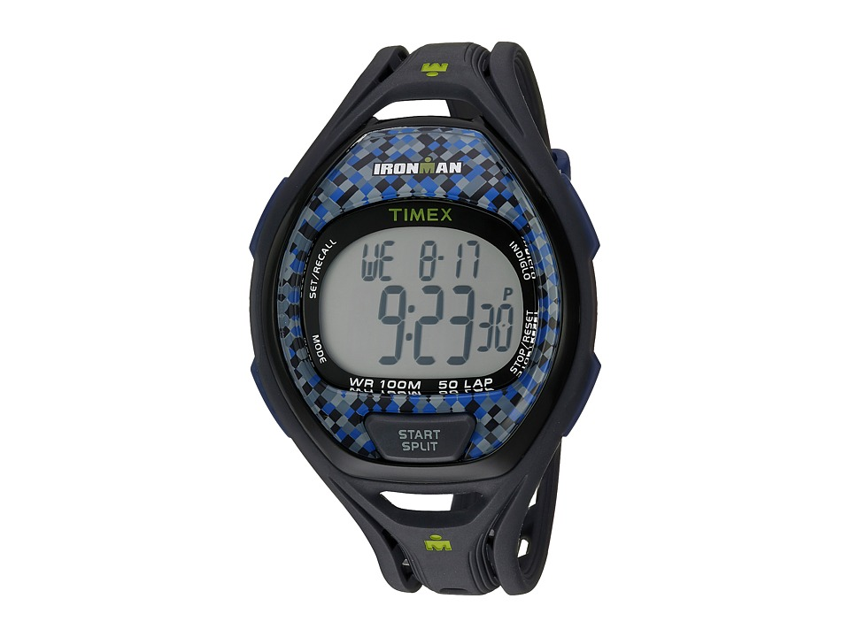 Timex - Ironman(r) Sleek 50 Full-Size Resin Strap (Gray/Blue) Watches