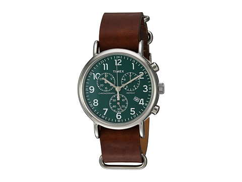 Timex Weekender Chrono Oversize Leather Slip-Thru Strap - Brown/Silver-Tone/Green