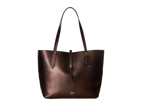 COACH Polished Pebbled Leather Market Tote - LI/Bronze Black