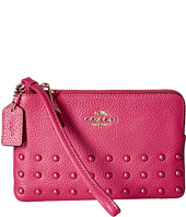 COACH - Lacquer Rivets Polished Pebbled Corner Zip