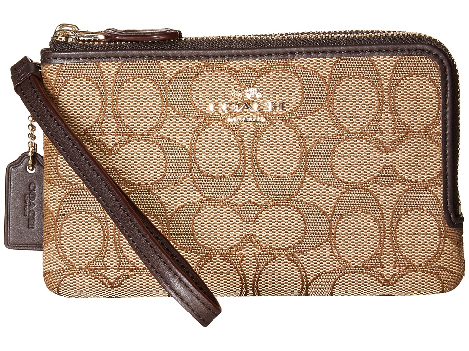COACH - Signature Double Corner Zip Bag (LI/Khaki/Brown) Handbags