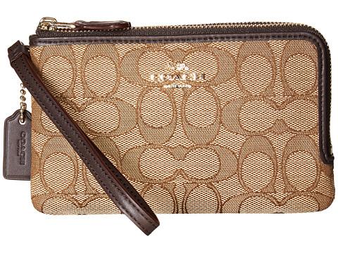 COACH Signature Double Corner Zip Bag - LI/Khaki/Brown