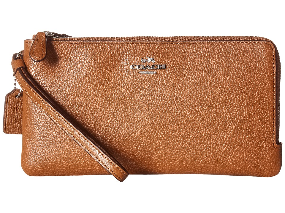 COACH - Polished Pebbled Double Zip Wallet (Silver/Saddle) Wallet Handbags
