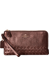 COACH - Lacquer Rivets Double Zip Wallet