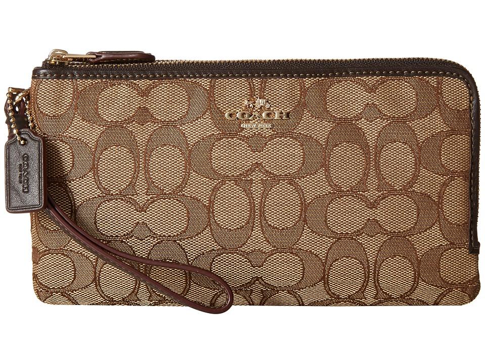 COACH - Signature Double Zip Wallet (LI/Khaki/Brown) Wallet Handbags