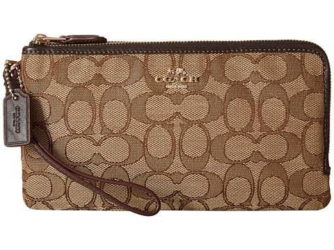 COACH Signature Double Zip Wallet - LI/Khaki/Brown