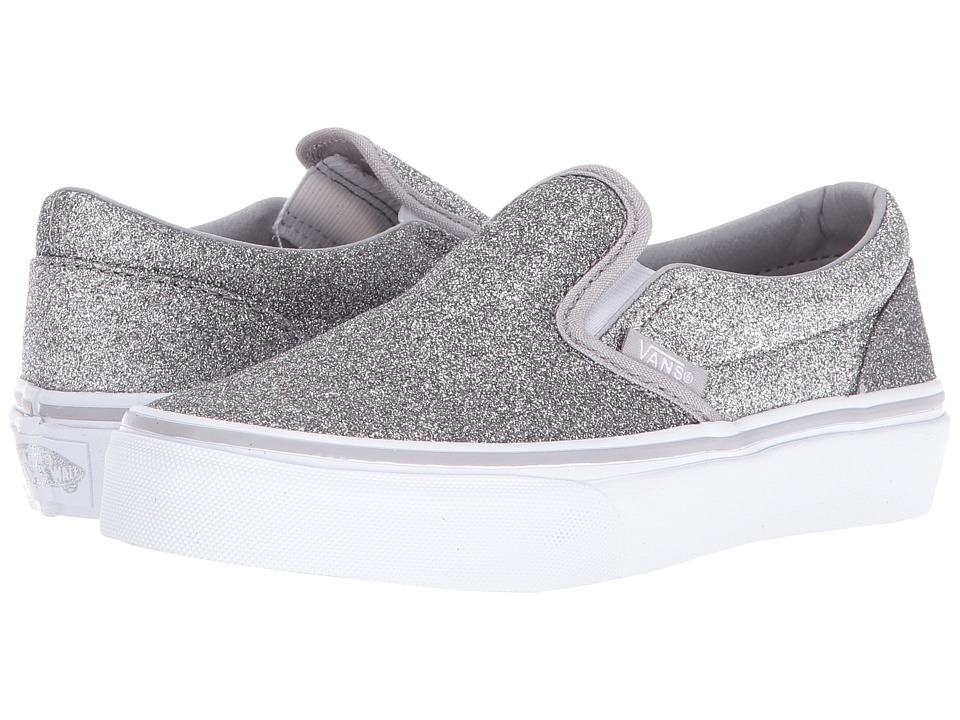 Vans Kids - Classic Slip-On (Little Kid/Big Kid) ((Shimmer) Silver 2) Girls Shoes