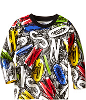 Moschino Kids - Long Sleeve Tee w/ All Over Letters and Scribbles (Infant/Toddler)