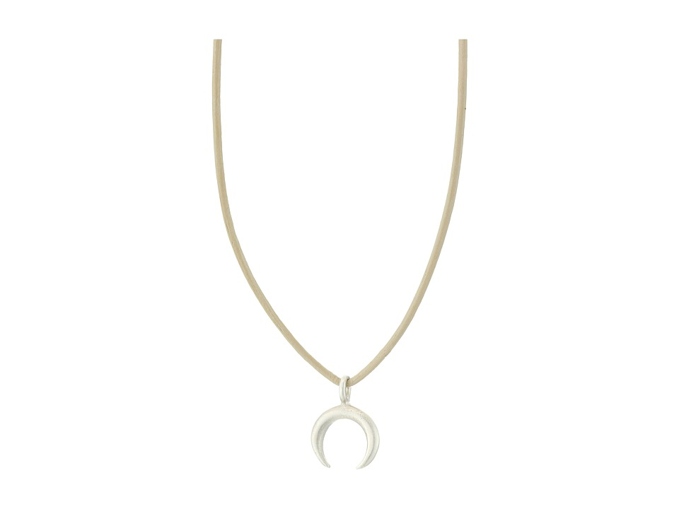 Dogeared - Top Layer Moon On Leather Choker (Sterling Silver/Cr me) Necklace