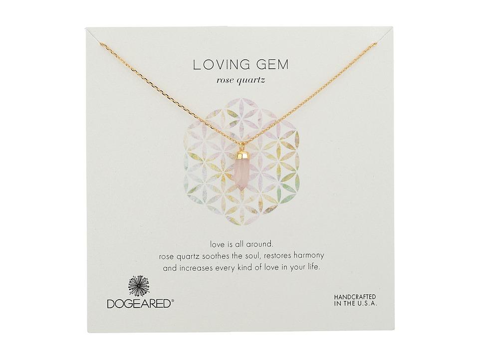 Dogeared - Loving Gem Rose Quartz Necklace (Gold Dipped/Rose) Necklace