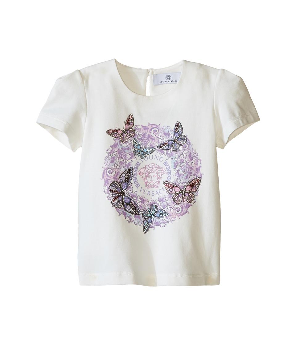 Versace Kids Short Sleeve Logo T-Shirt w/ Butterfly Graphic (Infant/Toddler) (White/Multi) Girl