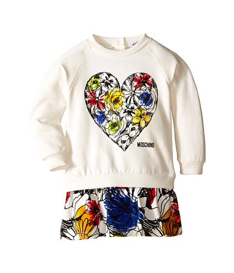 Moschino Kids Dropwaist Sweatdress w Floral Flounce