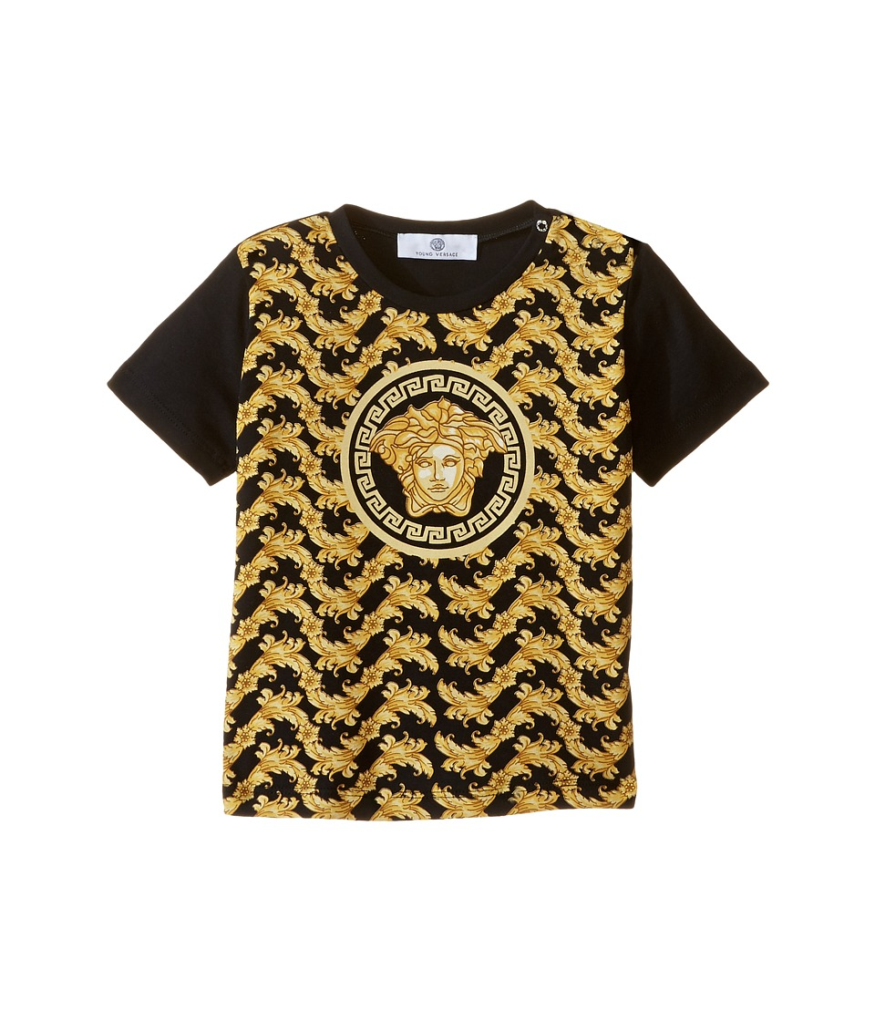 Versace Kids - Short Sleeve Tee with All Over Print and Medusa Logo (Infant/Toddler) (Black Gold) Boy