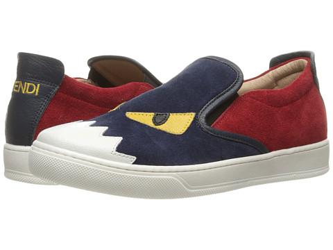 Fendi Kids Slip-On Monster Sneakers (Big Kid) - Blue/Red