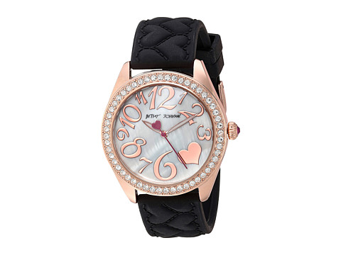 Betsey Johnson BJ00048-172 - Black Silicone Strap - Rose Gold