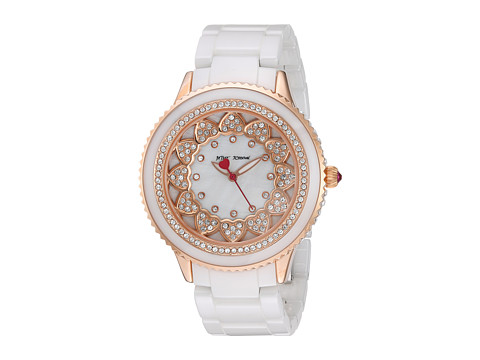 Betsey Johnson BJ00622-03 - Pave Stones White Ceramic Band - White Ceramic/Rose Gold