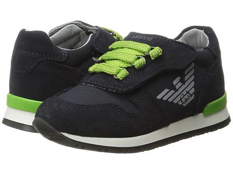 Armani Junior Sneaker with Green Detailing (Infant/Toddler) - Navy