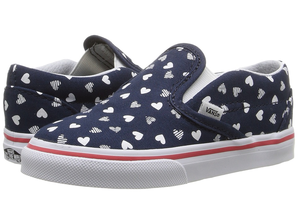 Vans Kids - Classic Slip-On (Toddler) ((Hearts) Dress Blues/True White) Girls Shoes
