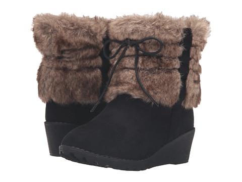 kensie girl Kids Ankle Fur Boots (Little Kid/Big Kid) - Black Suede