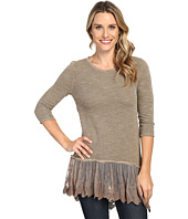 Dylan by True Grit - Luxe Sparkle Slub 3/4 Sleeve Top w/ Victorian Lace Hem