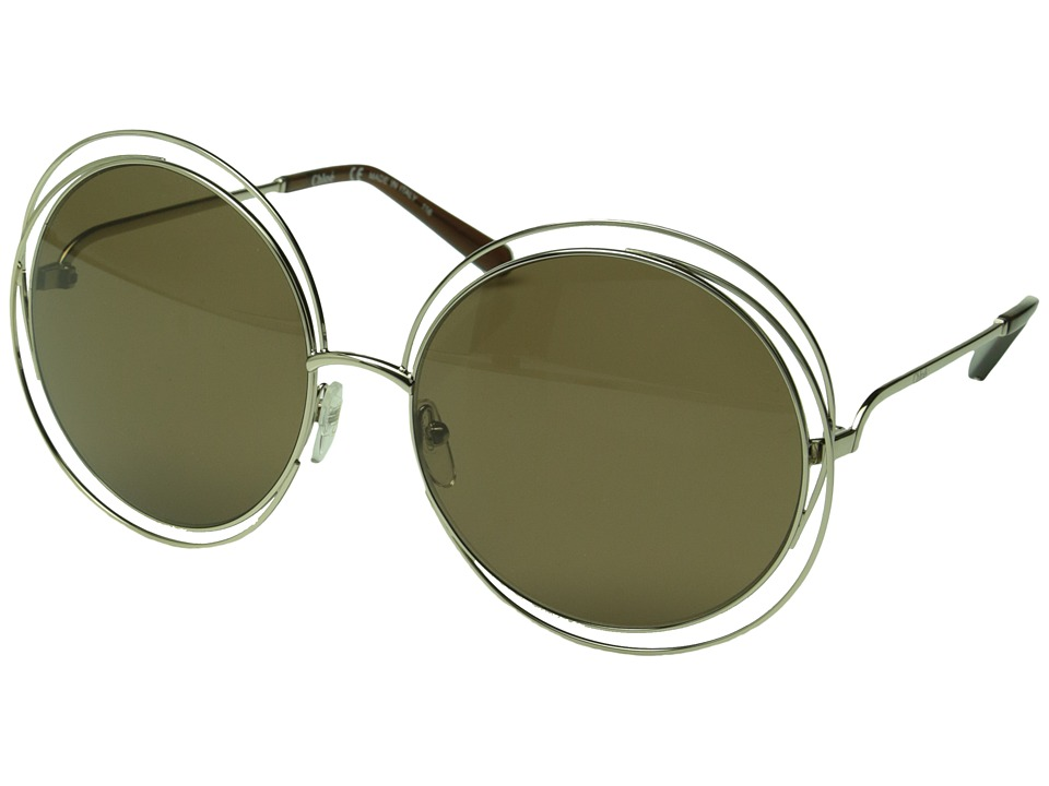 Chloe Carlina Round Gold/Transparent Brown Fashion Sunglasses