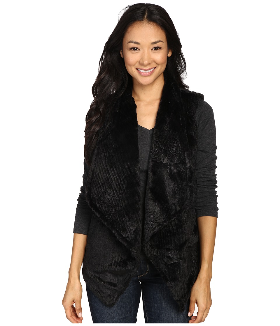 Dylan by True Grit - Plush Faux Black Rose Embossed Fur Draped Vest w/ Fur Lining