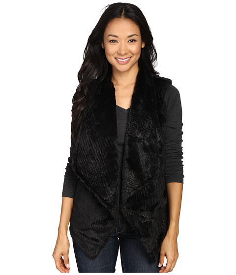 Dylan by True Grit Plush Faux Black Rose Embossed Fur Draped Vest w/ Fur Lining
