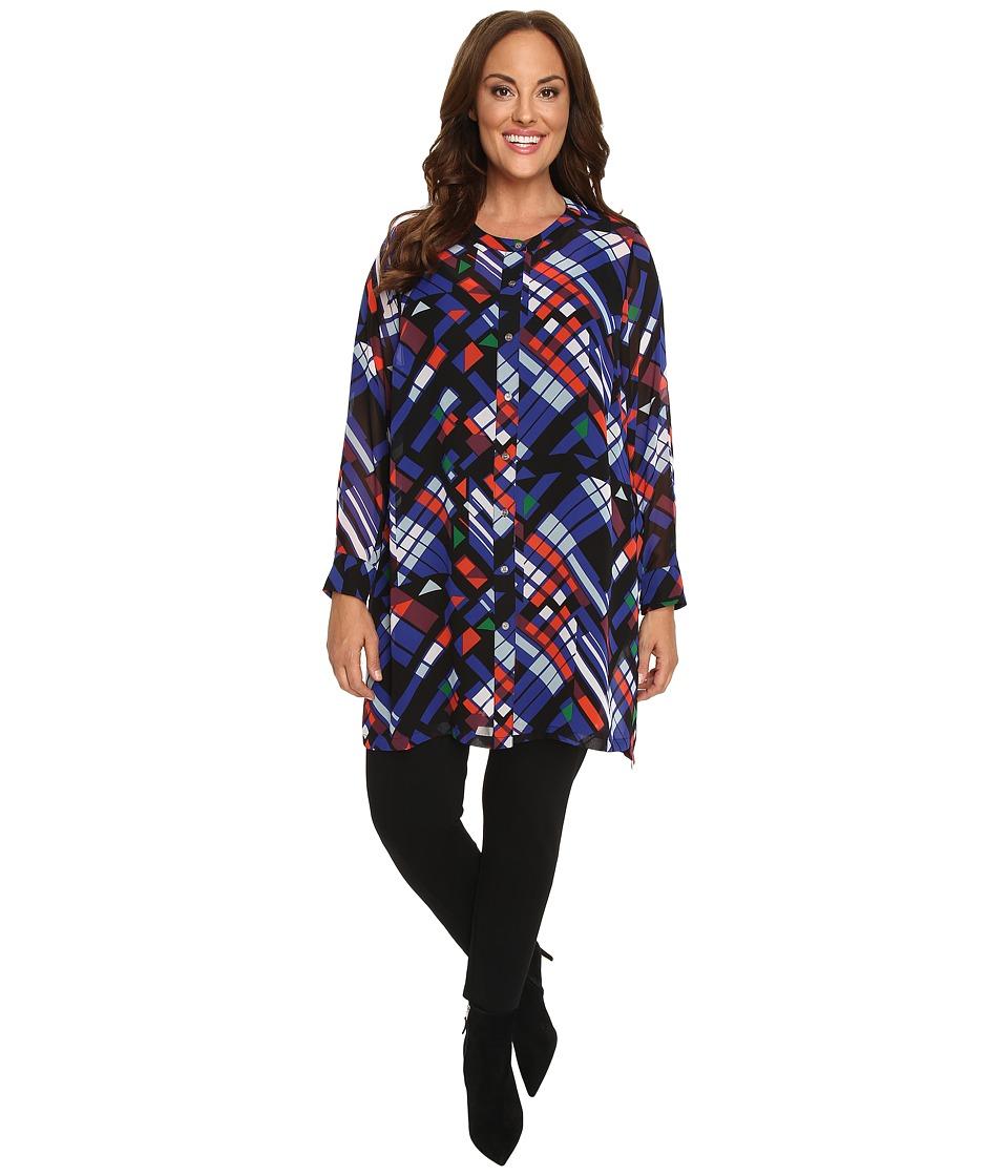 Vince Camuto Plus - Plus Size Long Sleeve Graphic Map Button Front Blouse (Rich Black) Women's Blouse plus size,  plus size fashion plus size appare
