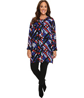 Vince Camuto Plus - Plus Size Long Sleeve Graphic Map Button Front Blouse