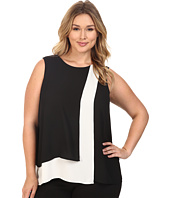 Vince Camuto Plus - Plus Size Sleeveless Color Blocked Layered Blouse