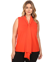 Vince Camuto Plus - Plus Size Sleeveless High-Low Hem V-Neck Top with Woven Scarf