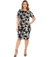 Vince Camuto Specialty Size - Plus Size Short Sleeve Delicate Foliage Scuba Midi Dress