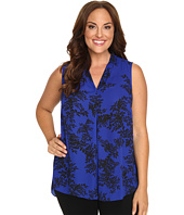 Vince Camuto Plus - Plus Size Sleeveless Delicate Foliage Invert Pleat Blouse