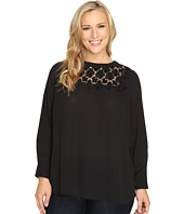 Vince Camuto Plus - Plus Size Long Sleeve Blouse with Embroidered Lace Yoke