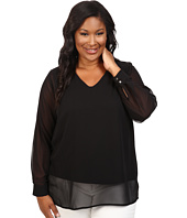 Vince Camuto Plus - Plus Size Long Sleeve Shirttail V-Neck Blouse with Knit Underlay