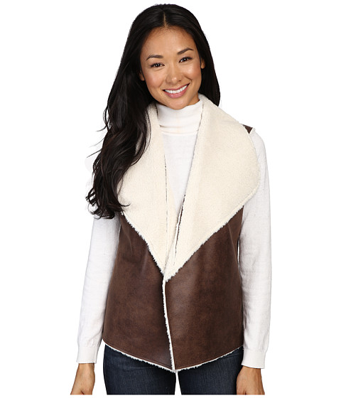 Dylan by True Grit 70s Shearling Bowie Vest - Brown/Natural