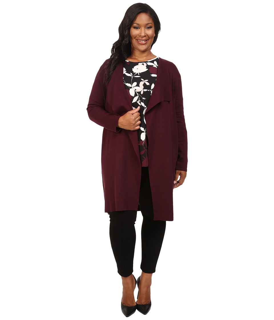 Vince Camuto Plus - Plus Size Long Sleeve Drape-Front Maxi Cardigan (Raisin) Women