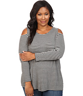 Vince Camuto Plus - Plus Size Parlour Stripe Cold-Shoulder Top