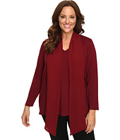 Vince Camuto Plus - Plus Size Long Sleeve High-Low Hem V-Neck Top with Woven Scarf