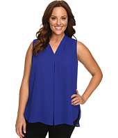 Vince Camuto Plus - Plus Size Sleeveless V-Neck Blouse with Inverted Front Pleat