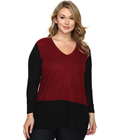 Vince Camuto Specialty Size - Plus Size Long Sleeve V-Neck Neck Waffle-Stitch Color Block Sweater