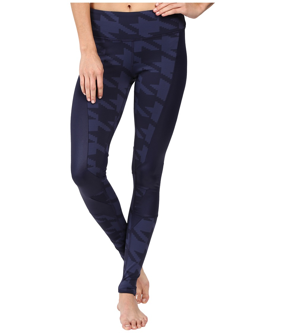 Image of ALO - Accelerate Leggings (Rich Navy Houndstooth/Rich Navy Glossy) Women's Casual Pants