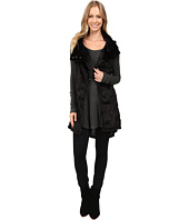 Dylan by True Grit - Plush Faux Black Rose Embossed Fur Long Snap Vest