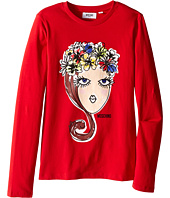 Moschino Kids - Long Sleeve Crown Flowers Tee Shirt Crown Flowers (Big Kids)