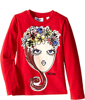 Moschino Kids - Long Sleeve Crown Flowers Tee Shirt (Little Kids/Big Kids)