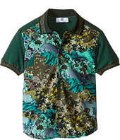 Versace Kids - Short Sleeve Button Down w/ Camouflage Print (Big Kids)