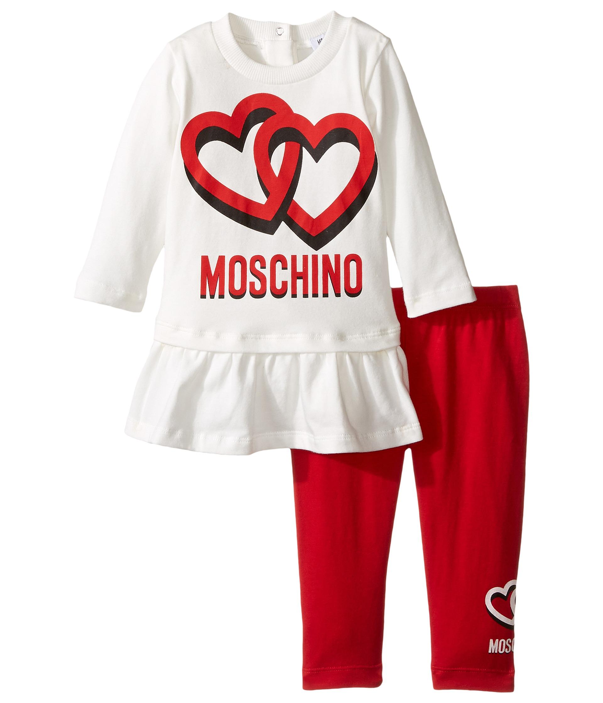 Moschino Kids Logo Tee w Flounce and Leggings Set Infant